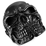 MunkiMix Acero Inoxidable Anillo Ring Negro Cráneo Calavera Hueso Talla Tamaño 20 Hombre
