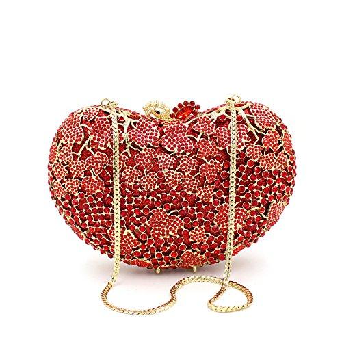Damen-Abendessen Set Strass Diamanten und Diamanten High-End-Diamant-Wallet Glänzende Handtasche Bankett Red