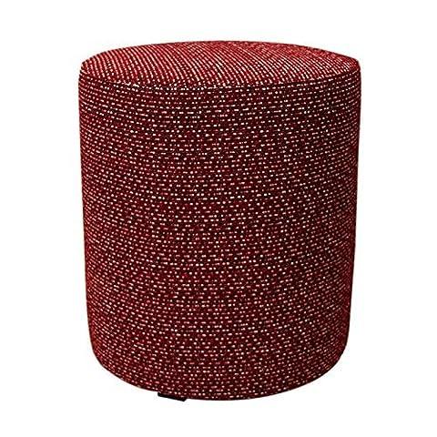 Arketicom Round Upholstered Pouffe Tweed Modern Classic Design in Polyurethane High Density – Size 45x45x45 Red Burgundy Italian Handmade