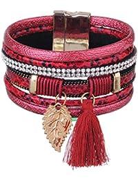OBSEDE Multi Layers Bracelet en Cuir Ethnique Bracelets Tribales Manchette Boucle Magnétique