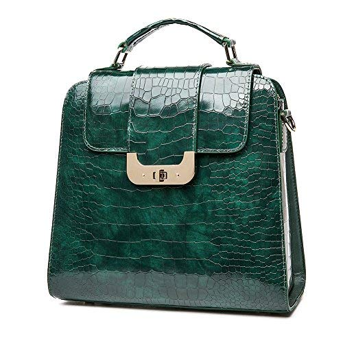 QI WANG Echtes Leder Handtaschen für Frauen Hellgrün Geprägte-Krokodil Rindsleder Top-Griff Taschen Schulranzen - Krokodil Geprägtes Leder Handtasche