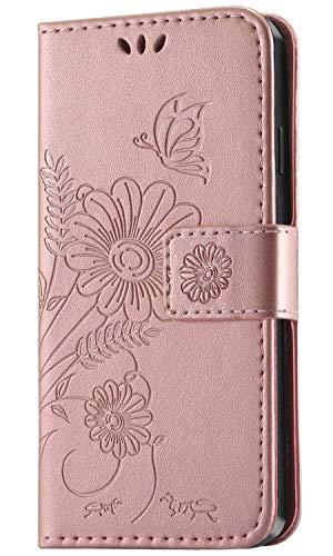 kazineer Hülle für iPhone XS, Leder Tasche Handyhülle für Apple iPhone X/iPhone XS Schutzhülle Brieftasche Etui Case (Pink-Gold)