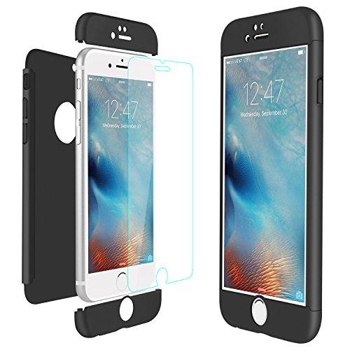 ivencase iPhone 6 Coque Noir Coque iPhone 6S Case Prime Hybride Robuste 3 en 1 Dur Anti-Rayures Mat PC Couverture Housse Étui + Protège Écran en Verre Trempé pour Apple iPhone 6/6S 4.7'