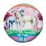 Kinder Kuschelkissen Plüsch Kissen rund Ø ca. 30 cm Mädchen Einhorn Motiv in Rosa (Rainbow)