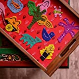 ExclusiveLane Teak Wood Applique Handwork Tray in Red - Serving Tray Breakfast Tray Wooden Tray