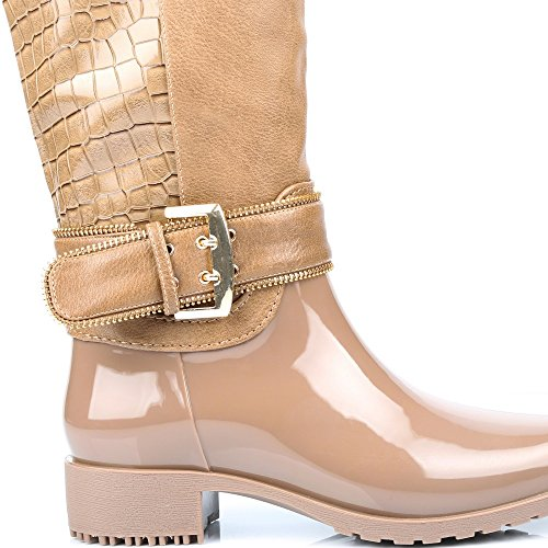 Com Estilo Algum Acoplamento Furo De material Borracha Bi Ideais Botas Bernardine Réptil Sapatos De Taupe E qpxYzn0
