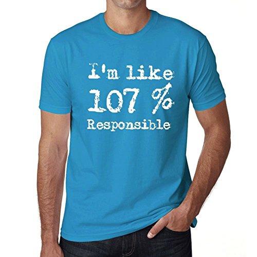 I'm Like 107% Responsible, ich bin wie 100% tshirt, lustig und stilvoll tshirt herren, slogan tshirt herren, geschenk tshirt Blau