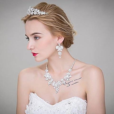 F&HY&L Fiore coreano sposa capelli accessori diademi corona collana orecchini gioielli tre pezzo