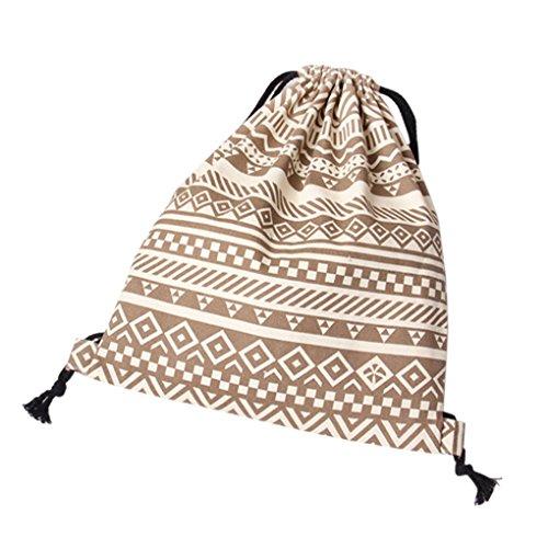LUFA Gestreifte Nationale Wind Kleine Schulter Bagpack Causal Leinwand Drawstring Bag Braun
