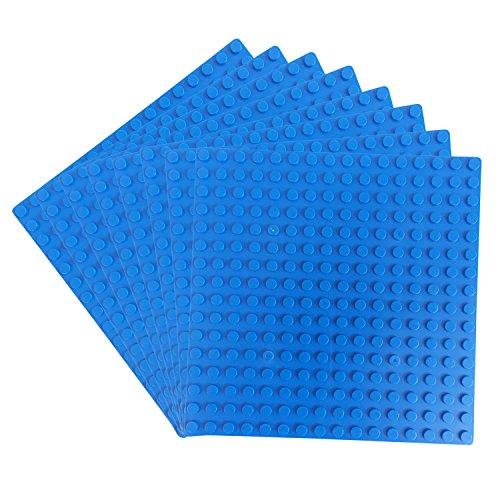 Lego-bau-zubehör (Katara 1741 - 8er Platten Set 13cm x 13cm / 16x16 Pins; Große Grund- Bauplatte für Lego, Sluban, Papimax, Q-Bricks, MY, Wilko Blox, Lego Duplo kompatibel; Grund-Platte; Blau für Meer und Wasser)