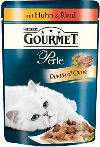 Gourmet Perle Katzenfutter Erlesene Streifen mit Huhn und Rind, 24er Pack (24 x 85 g) Beutel
