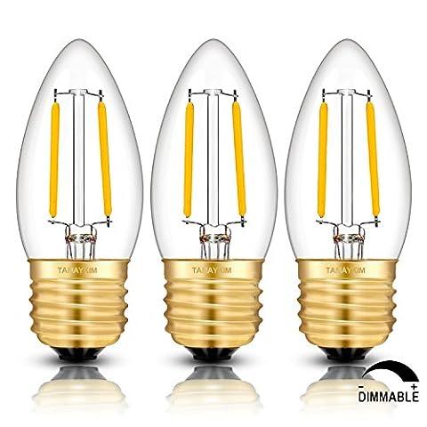 TAMAYKIM C35 2W Dimmbar Glühfaden LED Kerze Lampe, 2700K Warmweiß 200 Lumen, 20W Entspricht Glühlampe, (Media Base Spot)