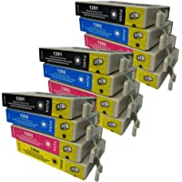 12 CiberDirect High Capacity Compatible Ink Cartridges for use with Epson WorkForce WF-3520DWF Printers.