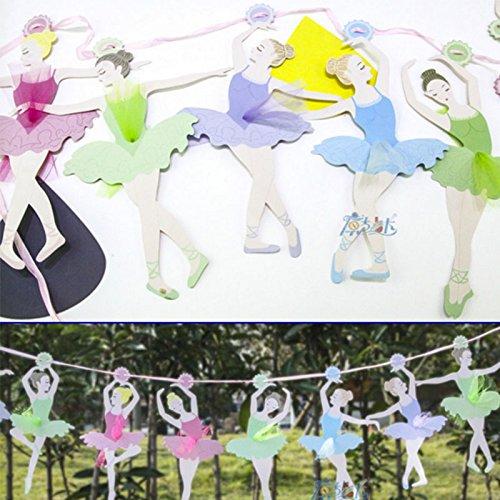 MiYan Guirlande de fanions Ballerine Danseuse Fée Chambre à Coucher Accessoire de décoration de fête