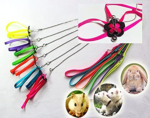 Harness for Ferret Baby Rabbit Hamster Rat Mouse Leash Lead with bell (Green)