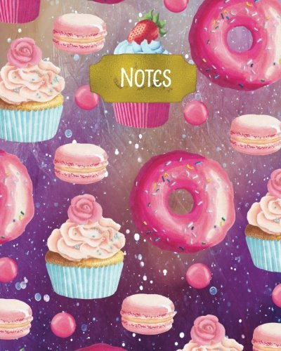 Notes: 160 Page Softcover Journal, College Ruled Composition Notebook, 8 x10 Blank Lined Diary Pink Sweet Treats Cupcakes and Candy Galaxy Cover