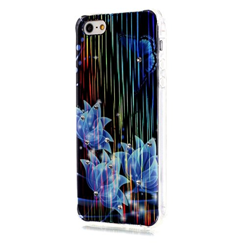 iPhone SE Hülle Case,iPhone 5S Hülle Case,Gift_Source [Meteor] [Satin Finish] [Drop Protection] Luxury Brushed Satin design Flexible Silicone Soft TPU Transparent mit Dust Plugs Hülle Case für iPhone  E01-07-Blau Flower