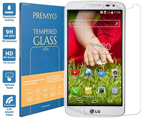 PREMYO Panzerglas für LG G2 Mini Schutzglas Bildschirm-Schutzfolie für LG G2 Mini Blasenfrei HD-Klar 9H 2,5D Echt-Glas Folie kompatibel für LG G2 Mini Gegen Kratzer Fingerabdrücke