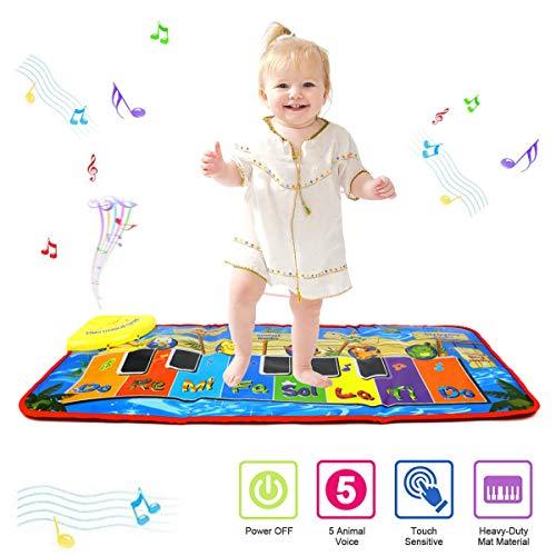PROACC Aktualisierung Klavier Playmat, Kinder Klaviertastatur Musik Playmat Spielzeug, große Größe (31 * 13.8 Zoll) lustige Tanzmatte für Babys Kleinkind Jungen und Mädchen Geschenk (Blue)