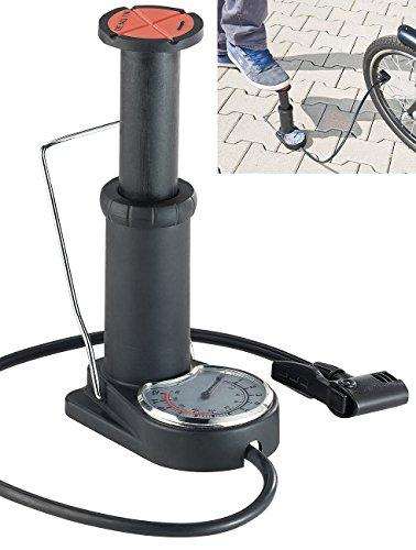 AGT Fußluftpumpe: Kompakte Stand-Fußpumpe, Manometer bis 6 bar, Adapterset, Kunststoff (Fahrradluftpumpen)