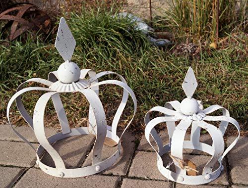 Unbekannt Metall Krone Rautenspitze Weiß groß 29 cm Garten Deko Wohnambiente - 1 Stück, Krone groß