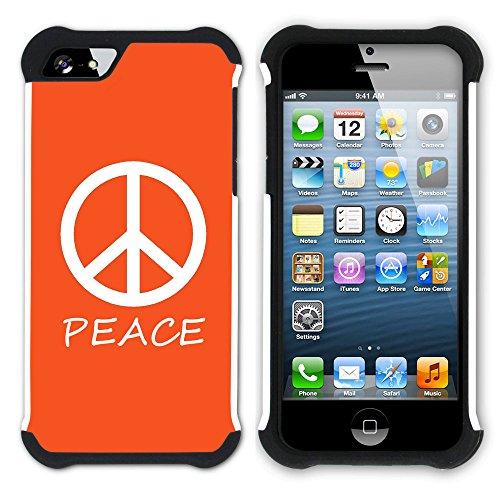 Graphic4You Peace Sign Friedenszeichen Design Hart + Weiche Kratzfeste Hülle Case Schale Tasche Schutzhülle für Apple iPhone SE / 5 / 5S (Aqua Blau) Orange