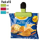#5: HOKIPO Pack of 6 Bag Clips – For Quick and Easy Re-sealing of Opened Food Bags, Random Colors