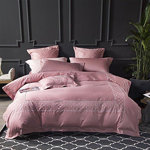 RONG-- Rosa Prinzessin Style 4-Teilige Bettwäsche Set 100% Baumwolle Bestickt Bettbezüge Set mit 2 Kissenbezüge - Doppel/King Size,M (Bettdecke Bettwäsche Ensembles)