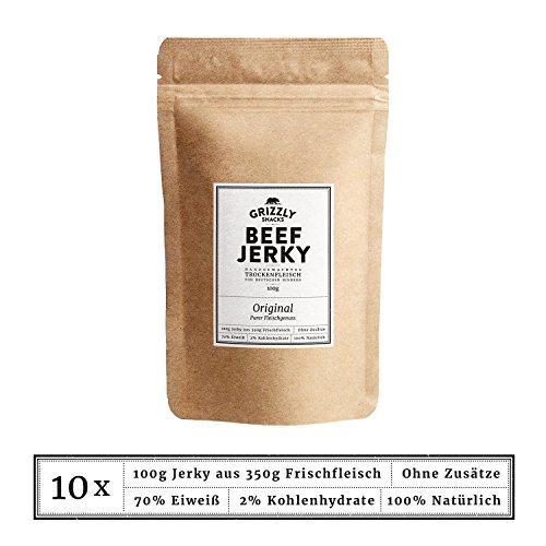 Beef Jerky • Aus Deutschland • >70% Eiweiß • Rinder-Trockenfleisch • 10er-Pack • Original • DER Chipsersatz (10 x 100g = 1kg) -