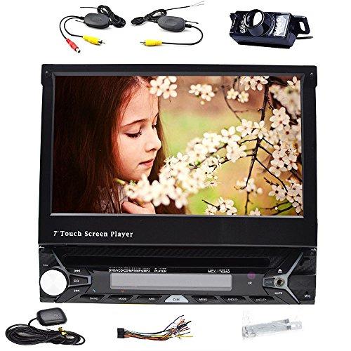 Bluetooth Digital Media Receiver GPS Navigation 17,8cm Auto DVD-Player Single 1DIN mit integriertem Bluetooth Kfz Stereo-Empfänger mit Fernbedienung GPS Autoradio Schrecken System FM AM RDS Haupteinheit SD Automotive Navi + Gratis Wireless Kamera