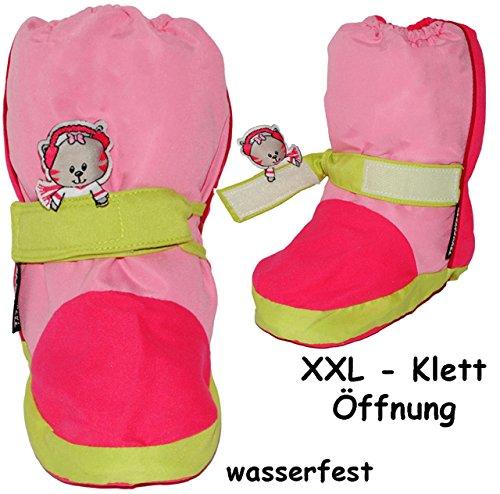 """Thermo - Überziehschuhe / Lauflernschuhe - """" Katze - rosa / pink """" - Größe: 6 bis 9 Monate / Gr. 19 - 20 _ 100 % Baumwolle gefüttert - mit langem Schaft & Klettverschluß / wasserdicht & atmungsaktiv -"""