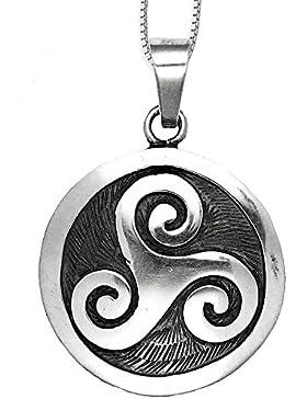 Anhänger keltische Triskele 925er Sterling Silber Schmuck Triskelenanhänger Schutzamulett mit Silberkette Halskette...