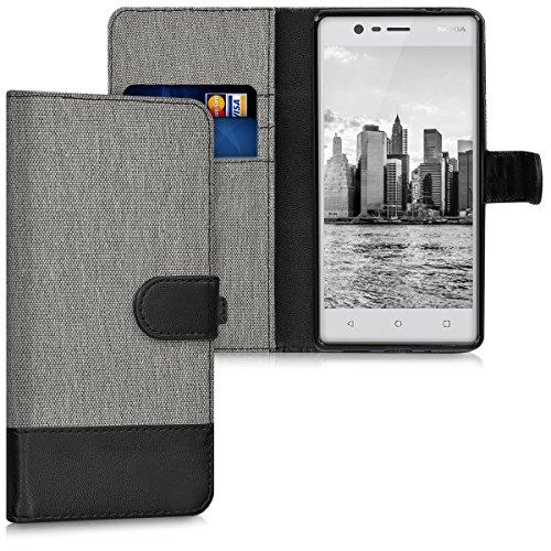 kwmobile Hülle für Nokia 3 - Wallet Case Handy Schutzhülle Kunstleder - Handycover Klapphülle mit Kartenfach und Ständer Grau Schwarz