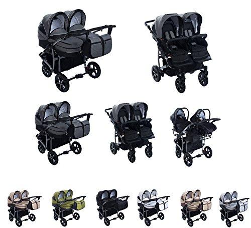 Clamaro 'Gemini' 3in1 Kombi Zwillingskinderwagen System mit 2x Babywanne, 2x Buggy, 2x Maxi-Cosi Babyschale Autositz (Isofix),zusammenklappbar, 360° Schwenkräder, einstellbare Federung, leinen grau
