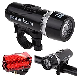 5 LED Frontscheinwerfer + Sicherheitstaschenlampe Nourich Set StV ZO-Zulassung, Fahrradbeleuchtung Fahrradlicht, Fahrradleuchte, Fahrradlampe, Fahrradlichter Camping Angeln Wandern