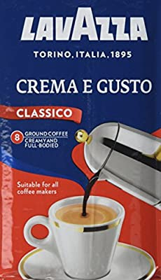 Lavazza Crema e Gusto Ground Coffee, 250 g, Pack of 8