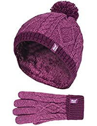 7246a8a7aeeff Heat Holders - Kids Girls Cute Cable Knitted Warm Fleece Lined Pompom Winter  Hat and Gloves
