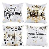 Gspirit 4 Stück Kissenbezug Weihnachten Schneeflocke Dekorative Kissenhülle Baumwolle Leinen Werfen Sie Kissenbezüge 45x45 cm