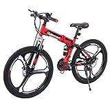 MuGuang 26 Pollici 21 Velocit Pieghevole Bicicletta Adulti Bike MTB Freni a Disco Mountain Bike Unisexe (Nero + Rosso)
