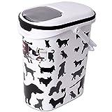 teprovo Curver Tierfutterbehälter Motiv Hunde Trockenfutter Aufbewahrung Hundefuttercontainer Futterbox 10 Liter 4 kg Behälter Deckel