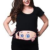 Mutterschaft Oberteile Damen Sommer Kurzarm Umstandsmode T-Shirts Schwangerschaft Cute Mutterschaft Frauen Kleidung Lustige Witzig Spähen Baby Drucken Basic Rundkragen Tops (B, L)