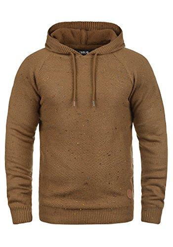 SOLID Balduin Herren Strickpullover Kapuzenpullover Hoodie mit Fischgrät-Muster und buntem Napyarn aus 100% Baumwolle, Größe:M, Farbe:Cinnamon (5056) (Baumwolle Muster 100%)