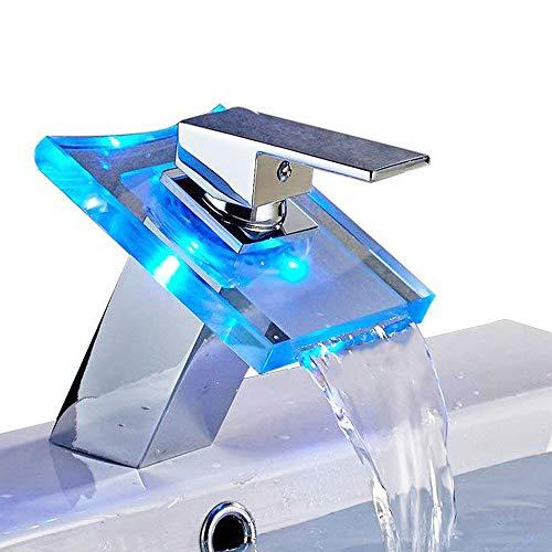 Auralum LED Wasserhahn Wasserfall Led Glass Waschtischarmatur mit RGB 3 Farbewechsel Beleuchtung Bad Armatur Einhebelmischer für Badezimmer Waschbecken WC -