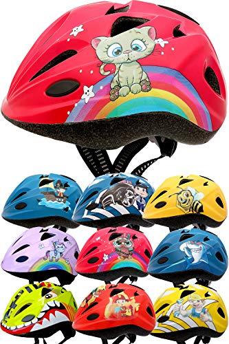Skullcap® Fahrradhelm für Kinder von Kindern gestaltet von Profis gebaut, Pinky cat