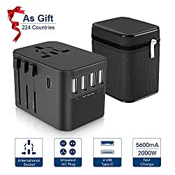 Reiseadapter ZeaLife Weltweit Reisestecker Universal Travel Adapter USB 5.6A Fast Charge Reiseadapter mit 4 USB Ports+Type C und AC Steckdosenadapter für 224 Ländern Europa UK Australien USA China