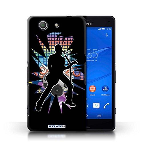 Kobalt® Imprimé Etui / Coque pour Sony Xperia Z3 Compact / Windmill Noir conception / Série Rock Star Pose Chanteur Noir