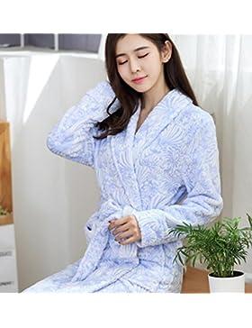 Bearony Suave Tipo Largo de Franela Estampado Albornoz Pareja Albornoz cálido camisón Invierno Pijama Azul (Color...