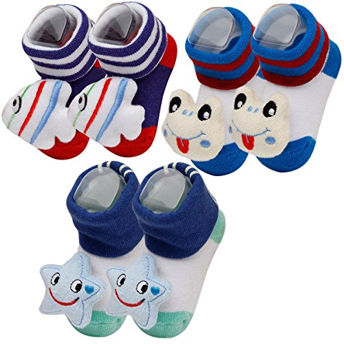 Happy Cherry - Lot de 3 Chaussettes Bébé Enfants Filles Garçons - Chaussons Imprimé 3D Animal - Couleur Aléatoire - Idéal pour 0-9 mois