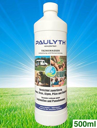 PAULYTH (0,5 Liter) - Trinkwasserentkeimung und Konservierung - Wundbehandlung - Keine Kupfer-/Silberionen - Entspricht der aktuellen Trinkwasserverordnung (TrinkwV)