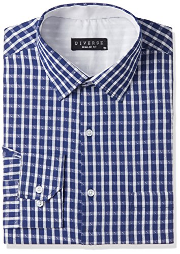 Diverse Men's Checkered Regular Fit Cotton Formal Shirt (DVF03F2L01-223-46_Dark Blue_46)